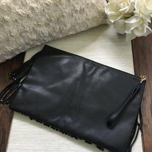 Deux Lux Bags - Deux Lux Oversized Fringe Clutch Bag - Black